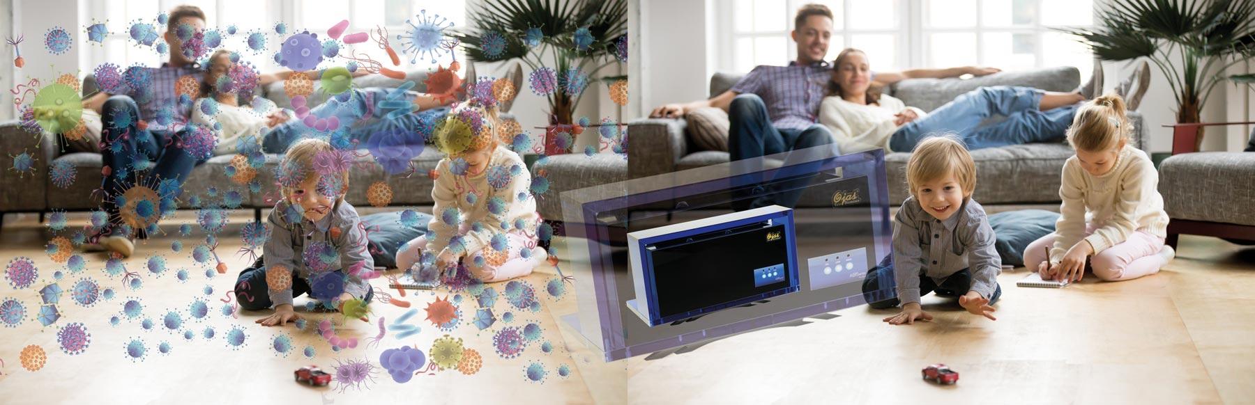 hier sieht man Wohnzimmer mit und ohne Viren